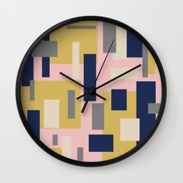 Modern Geometric Color Block Pattern in Pink, Mustard, Blue, Gray, and Taupe Wall Clock