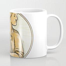 Female Wheat Farmer Drawing Coffee Mug