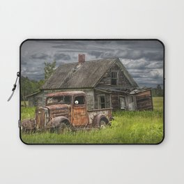 Old Vintage Pickup in front of an Abandoned Farm House Laptop Sleeve