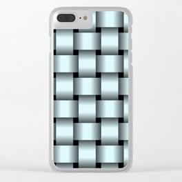 Large Light Cyan Weave Clear iPhone Case