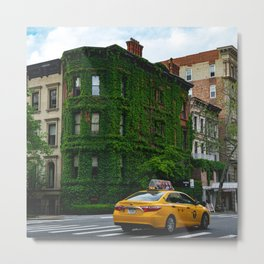 Taxi on the Upper East Side and an Ivy-Covered Brownstone Metal Print