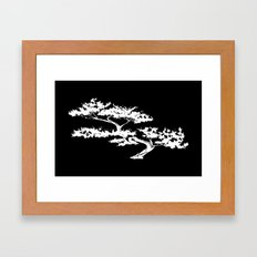 Bonzai Tree Reversed on Black Background Framed Art Print