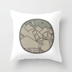 Astronaut Moon Stars Circle Mono Line Throw Pillow