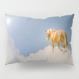 Walking on clouds over the blue sky Pillow Sham
