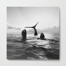Hanging with a whale Metal Print
