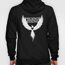 PHOENIX RISING white with heart center Hoody