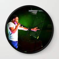 childish gambino Wall Clocks featuring Childish Gambino by Ashley Overton