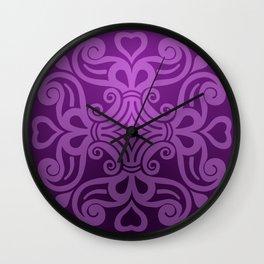 HUNGARIAN ORNAMENTS - Femininity mandala in purple Wall Clock