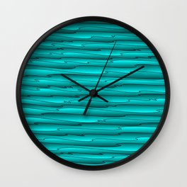 Curved flowing art light blue lines on a dark. Wall Clock