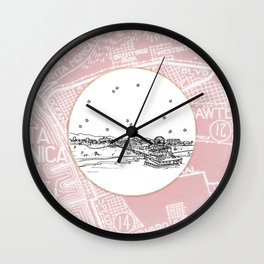 Santa Monica Pier, California City Skyline Illustration Drawing Wall Clock