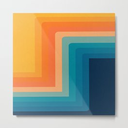 Retro 70s Color Lines Metal Print