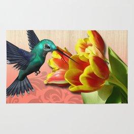 Hummingbird & Beautiful Tulip Flowers Rug