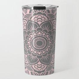 Mandala Flower Gray & Ballet Pink Travel Mug