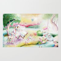 fairy tale Area & Throw Rugs featuring Fairy Tale by Julie Edwards