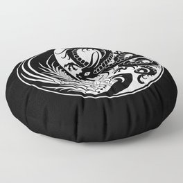 White and Black Dragon Phoenix Yin Yang Floor Pillow