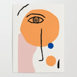 Feminist Line Drawing – Face Illustration | Blue and Nude | Modern Wall Art | Leaf Print | Feminist Poster