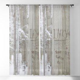 Winter Tress Love Carvings, Knox Farm State Park, Winter 2013 Sheer Curtain