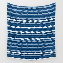 Classic Blue Wave Pattern Wall Tapestry