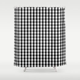 Small Black White Gingham Checked Square Pattern Shower Curtain