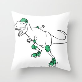 Derby Dino WHT/grn Throw Pillow