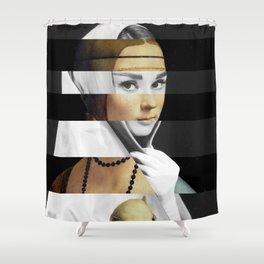 Leonardo da Vinci's Lady with a Ermine & Audrey Hepburn Shower Curtain