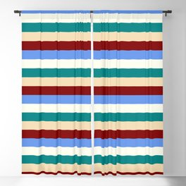 Colorful Maroon, Cornflower Blue, Ivory, Teal & Tan Stripes/Lines Pattern Blackout Curtain