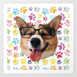 Corgi Dog with Glasses Art Print