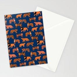 Big Cats pattern - leopard, cougar, tiger, lion, cats safari art, navy tiger, orange tigers, tiger art, animals art Stationery Cards