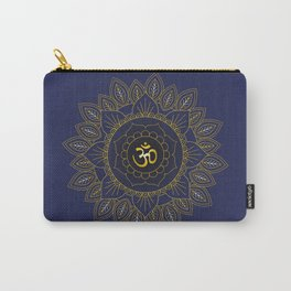 Om Symbol and Mandala in Spiritual Gold Purple Blue Violet Carry-All Pouch