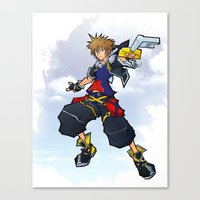 kingdom hearts Canvas Prints featuring Kingdom Hearts 2 - Sora by Outer Ring