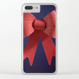 Big red glitter bow ribbon on the blue Clear iPhone Case