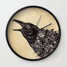 CROW-ded Wall Clock