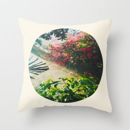 Pink Greenhouse Flowers Throw Pillow