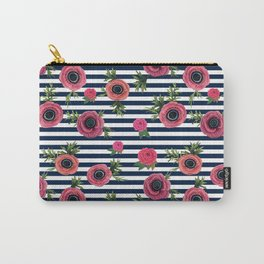 Watercolor Flowers with Nautical Stripes Carry-All Pouch