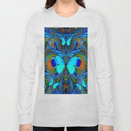 ELECTRIC NEON BLUE BUTTERFLIES & BLUE PEACOCK FEATHERS Long Sleeve T-shirt