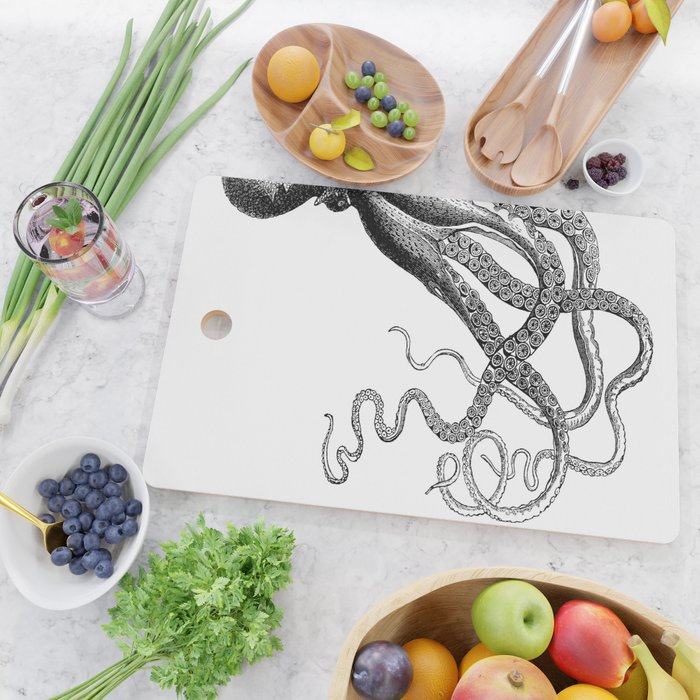 Half Octopus (Left Side) | Black and White Cutting Board