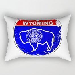 Wyoming Flag Icons As Interstate Sign Rectangular Pillow