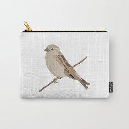 House Sparrow Bird on a Twig Carry-All Pouch