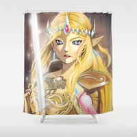 zelda Shower Curtains featuring Zelda by Mika