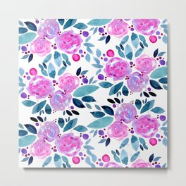 Abstract roses bouquet - pink and teal Metal Print