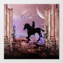 The unicorn with fairy Canvas Print