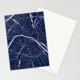 Paris France Minimal Street Map - Navy Blue and White Reverse Stationery Cards
