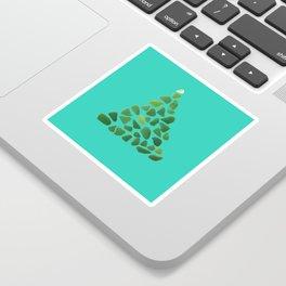 Green Sea Glass Tree on Turquoise #seaglass #Christmas Sticker