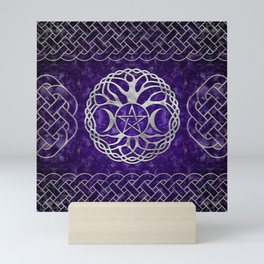 Triple Goddess with pentagram and tree of life Mini Art Print
