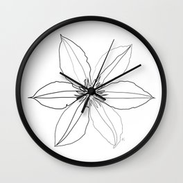 """ Botanical Collection "" - Clematis Flower Wall Clock"