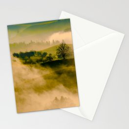 Foggy Parallax Hills With Trees Stationery Cards