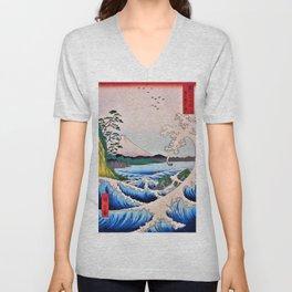 12,000pixel-500dpi - Utagawa Hiroshige - 36 Views of Mt.Fuji - The sea Satsuta at in Suruga Unisex V-Neck