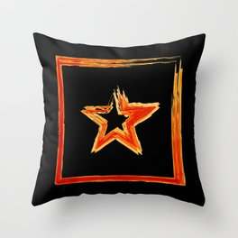 Fire star in red and blue color on a black background. Throw Pillow