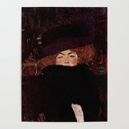 "Gustav Klimt ""Lady with Hat and Feather Boa"" Poster"