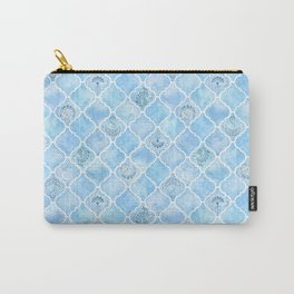Watercolor Arabesque Tiles with Art Nouveau Focal Designs in Blue Carry-All Pouch